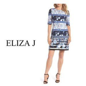 Eliza J Blue Print Elbow Sleeve Shift Dress Sz 6